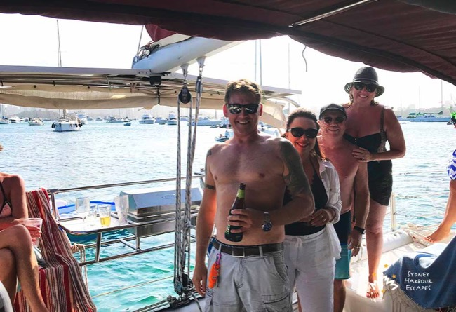 Saltwater I catamaran party people on Stern