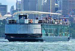 STARSHIP AQUA 111' Twin Level Glass Pontoon Sydney Harbour Wedding