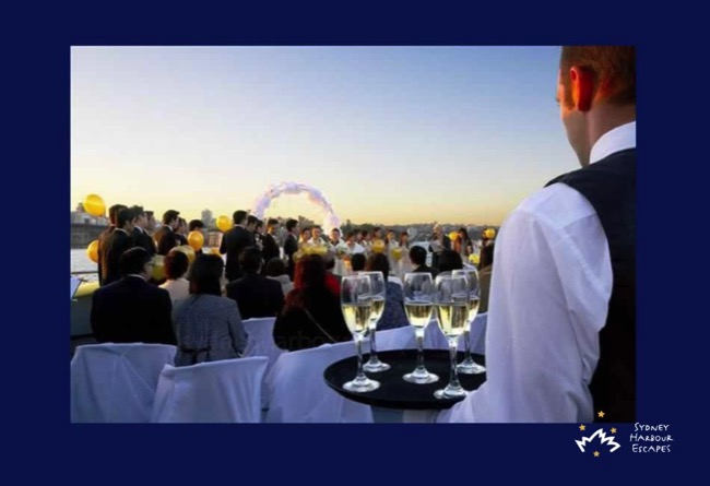 Starship Sydney wedding deck champagne