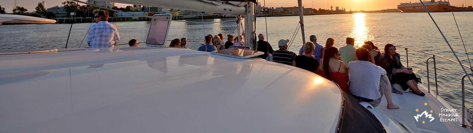 Enjoying the sunset on Verve catamaran